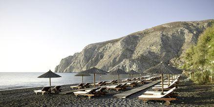 Ranta, hotelli Afrodite. Kamari, Santorini, Kreikka.