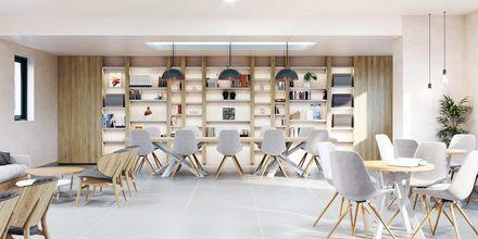 Kirjasto, hotelli Alegria Beach Resort. Plakias, Kreeta, Kreikka.