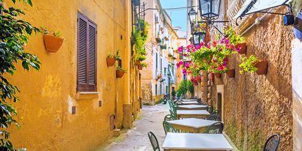 Ulkoilmaravintola Amalfin rannikolla, Italiassa.