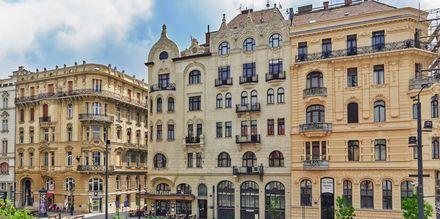 Kauniita taloja Unkarin pääkaupungissa Budapestissä.