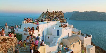 Auringonlasku. Oia, Santorini, Kreikka.
