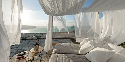 Aurinkoterassi, Hotelli Caldera's Dolphin, Santorini.