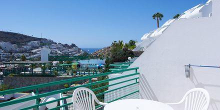 Huoneiston parveke, Hotelli Heliomar, Puerto Rico, Gran Canaria.