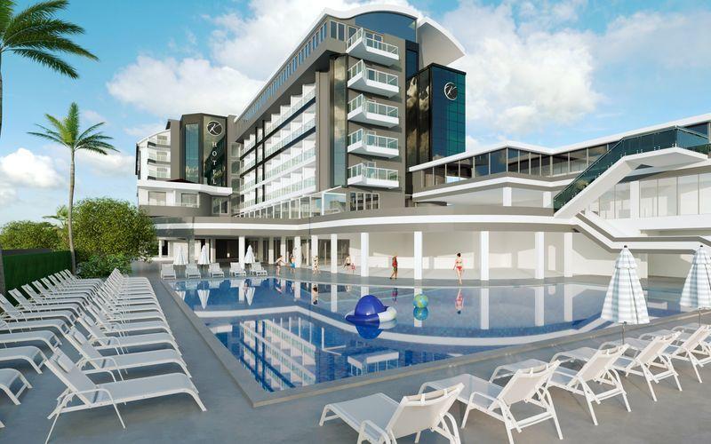 Havainnekuva remontoidusta julkisivusta, Hotelli Kyla Beach, Alanya, Turkki.