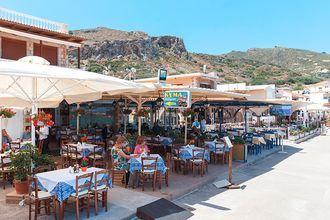 Ravintola. Kolymbari, Kreeta, Kreikka.