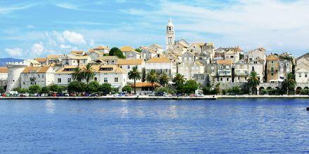 Korcula on perinteinen, dalmatialainen kaupunki. Katedraalia ympäröi kivitalot.