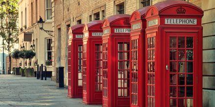 Klassiset punaiset puhelinkopit Lontoossa.