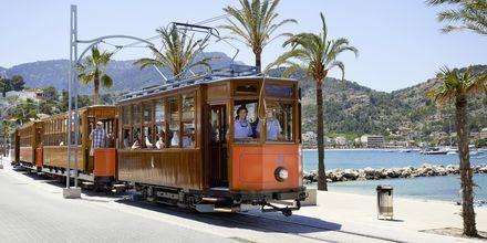Palman ja Sóllerin välissä kulkeva raitiovaunu, matkan aikana näet upeita vuoristomaisemia ja sitruslaaksoja.