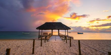 Auringonlasku ihanalla Flic en flacin rannalla Mauritiuksella.