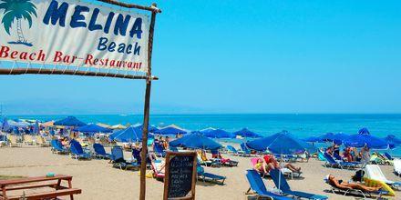 Hotellin ranta. Hotelli Melina Beach, Platanias, Kreeta, Kreikka.