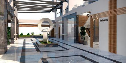 Havainnekuva pääravintolasta. Hotelli Myrion Beach Resort, Gerani, Kreeta, Kreikka.