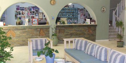 Vastaanotto. Hotelli Pandrossos, Paros, Kreikka.