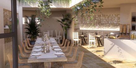 Ravintola. Hotelli Parasol, Karpathoksen kaupunki, Kreikka.