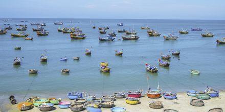 Kalastaja veneitä Mui Nellä Vietnam.