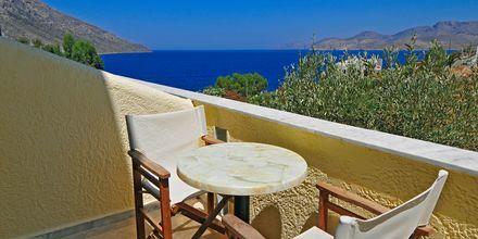 Maisema yksiöstä, Hotelli Philoxenia, Massouri, Kalymnos, Kreikka.