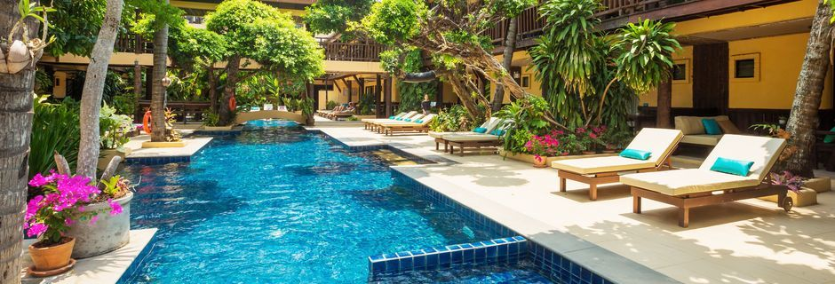 Allasalue, hotelli Phra Nang Inn. Krabi, Thaimaa.