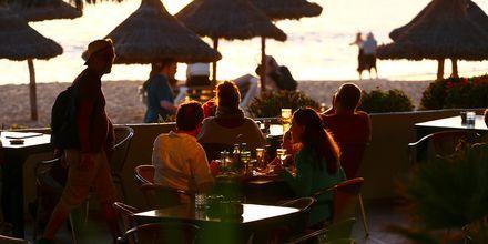 Nauti hyvistä juomista auringonlaskussa, Playa de las Americas, Teneriffa.