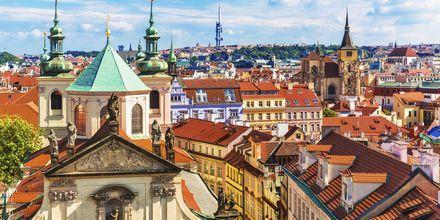 Näköalat Prahan vanhan kaupungin kattojen ylle.