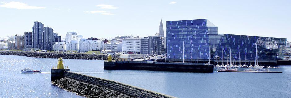 Reykjavikin tunnettu oopperatalo Harpa.