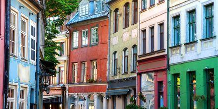 Kauniita taloja Riikan vanhassa kaupungissa.
