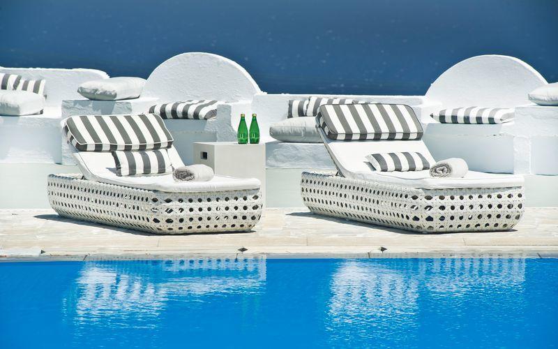 Allas. Hotelli Santorini Palace, Kreikka.
