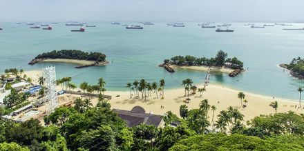 Sentosan saarella, joka sijaitsee Singaporen kaupungin ulkopuolella, voit nauttia auringosta ja rantaelämästä koko päivän.
