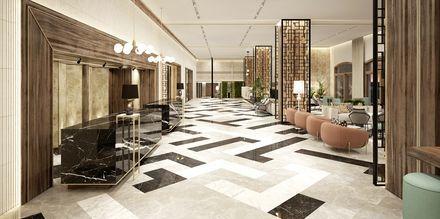 Havainnekuva aulasta, Hotelli Theartemis Palace, Kreeta, Kreikka.