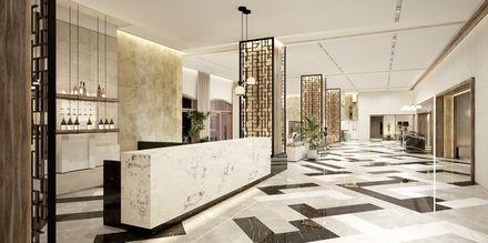 Havainnekuva aulabaarista, Hotelli Theartemis Palace, Kreeta, Kreikka.
