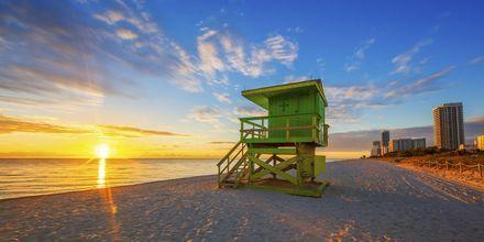 Auringonnousu rannalla, Miami, USA.